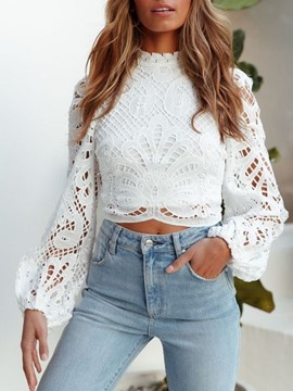 Ericdress Lace Plain Stand Collar Long Sleeve Short Blouse