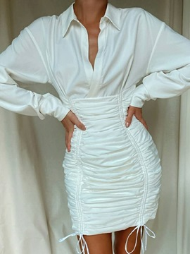 Ericdress Pleated Above Knee Long Sleeve Bodycon Pullover Dress