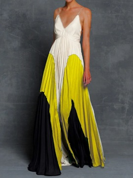 Ericdress Sleeveless Patchwork V-Neck Pleated Color Block Maxi Dress