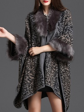 ericdress leopardo occidental acrílico invierno capa