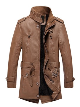 Ericdress Mid-Length Stand Collar Plain Slim Pocket Leather Jacket