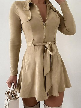 Ericdress Long Sleeve Lapel Fall Zipper Dress