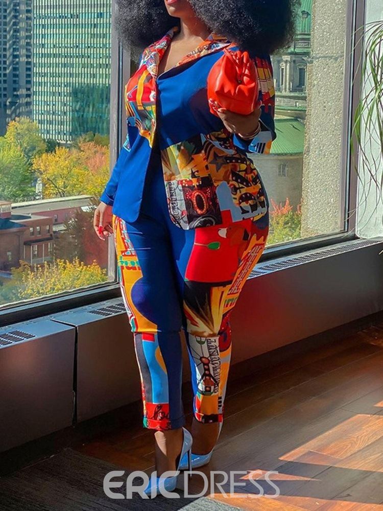 Ericdress Patchwork Jacket Western One Button Pencil Pants Two Piece Sets