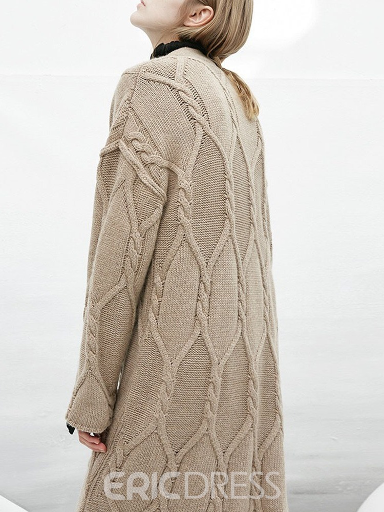 Ericdress Regular Thick Single-Breasted Straight V-Neck Sweater
