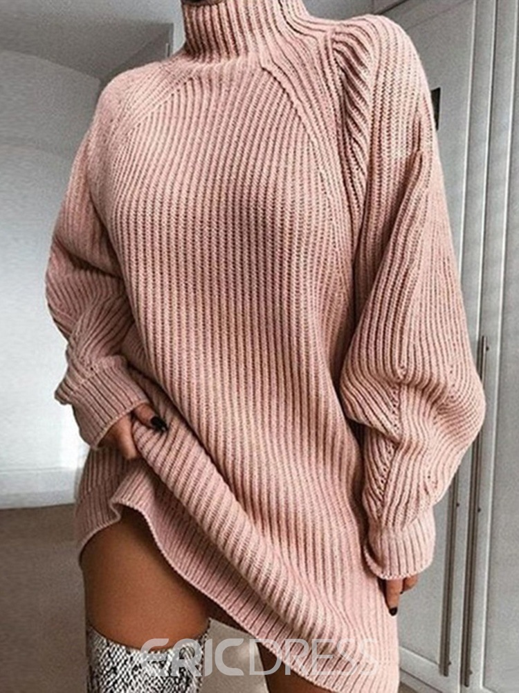 Ericdress Above Knee Long Sleeve Turtleneck Straight Pullover Dress