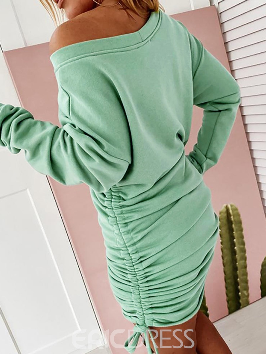 Ericdress Long Sleeve Above Knee Lace-Up Fall Bodycon Dress