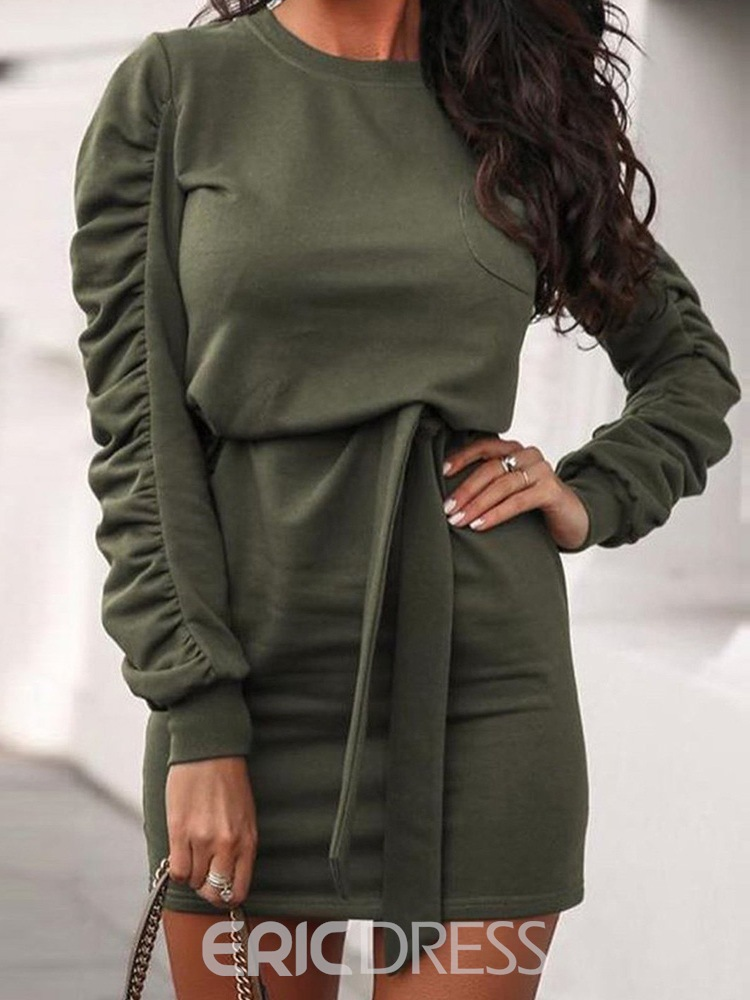 Ericdress Round Neck Above Knee Pleated Bodycon Pullover Dress