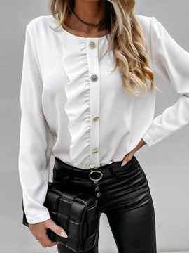 Ericdress Button Plain Round Neck Standard Long Sleeve Blouse