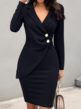 Ericdress Long Sleeve Lapel Button Office Lady Fall Dress