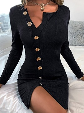 Ericdress Button Long Sleeve Round Neck Office Lady Plain Dress
