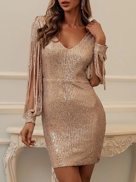 Ericdress Sequins V-Neck Above Knee Plain Summer Dress