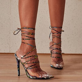 Ericdress Lace-Up Pointed Toe Serpentine Banquet Thin Shoes