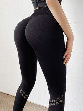Ericdress Anti-Sweat Solid Cotton Blends Running Ankle Length Pants Yoga Pants High Waist Tiktok Leggings