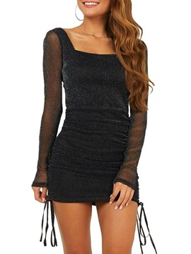 Ericdress Square Neck See-Through Long Sleeve Regular Plain Dress