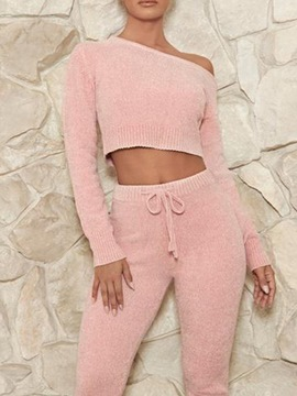 Ericdress Lace-Up Ankle Length Pants Fashion Pullover Pencil Pants Two Piece Sets