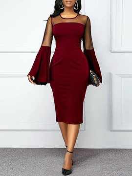 Ericdress Long Sleeve Patchwork Mid-Calf Plain Flare Sleeve Dress