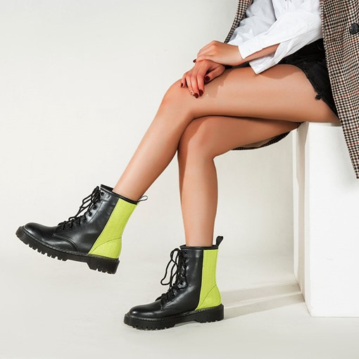Ericdress Round Toe Color Block Lace-Up Front Western Boots