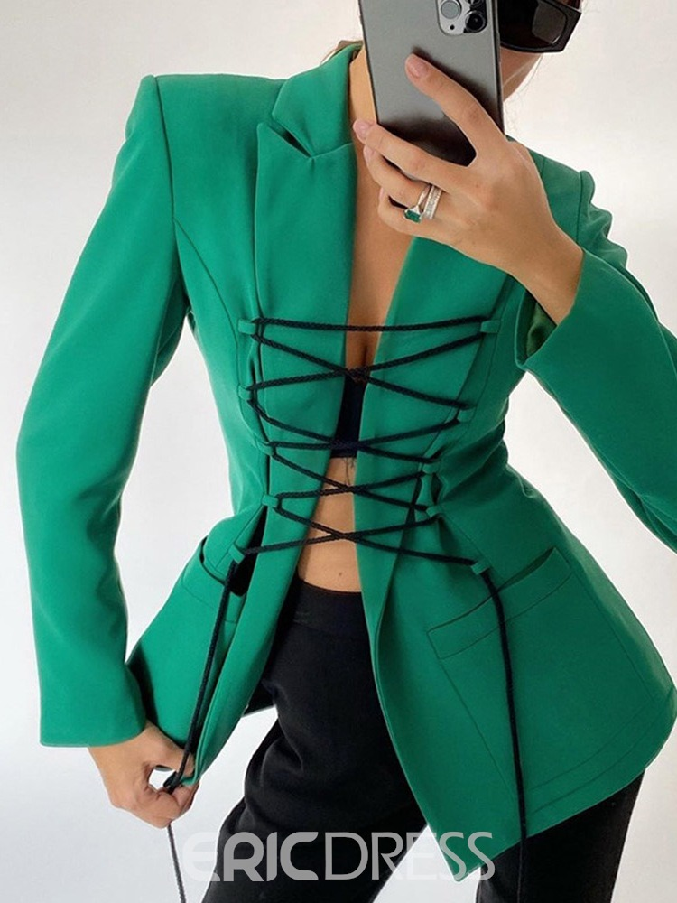 Ericdress Notched Lapel Lace-Up Long Sleeve Mid-Length Regular Casual Blazer