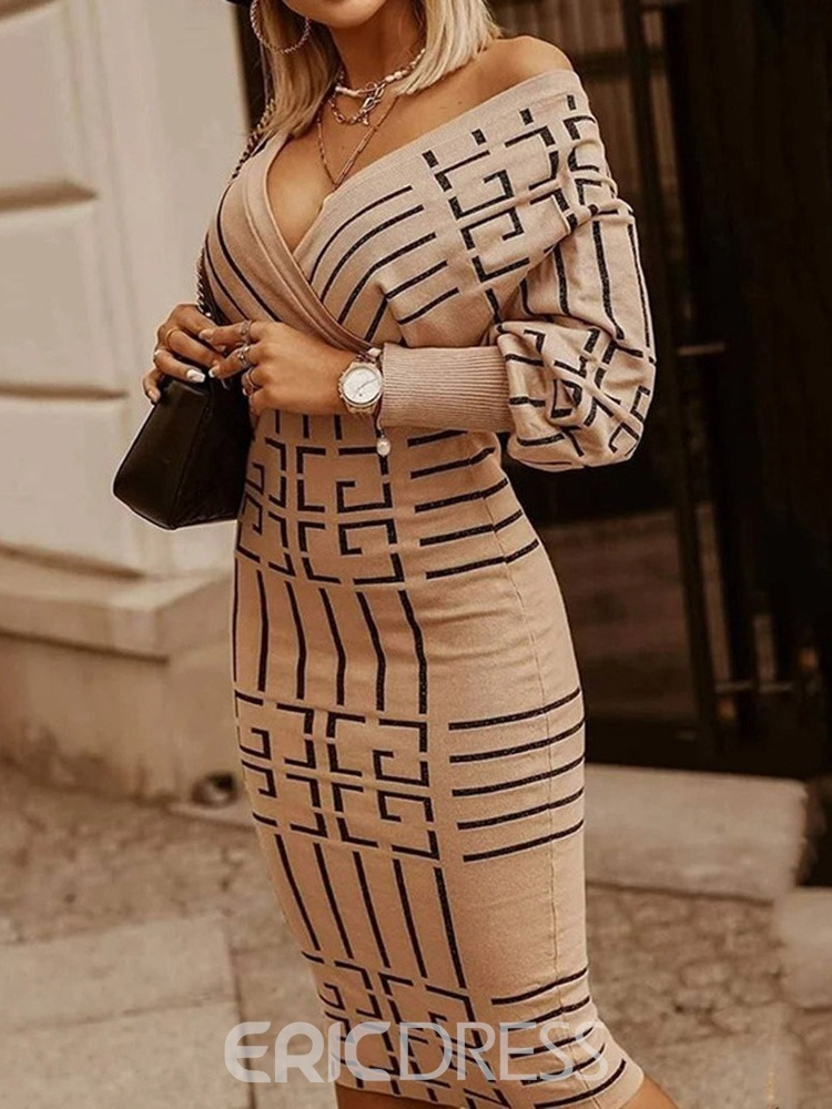 Ericdress Long Sleeve V-Neck Print Fashion High Waist Dress