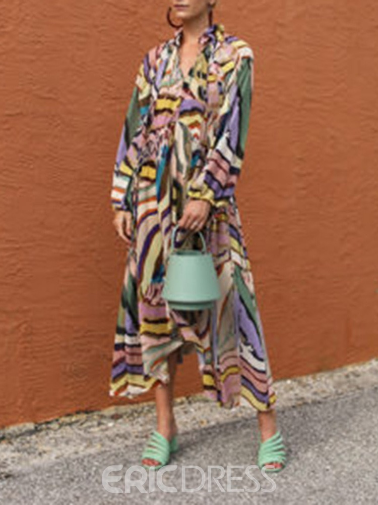 Ericdress Ankle-Length Print Long Sleeve Pullover Fall Dress