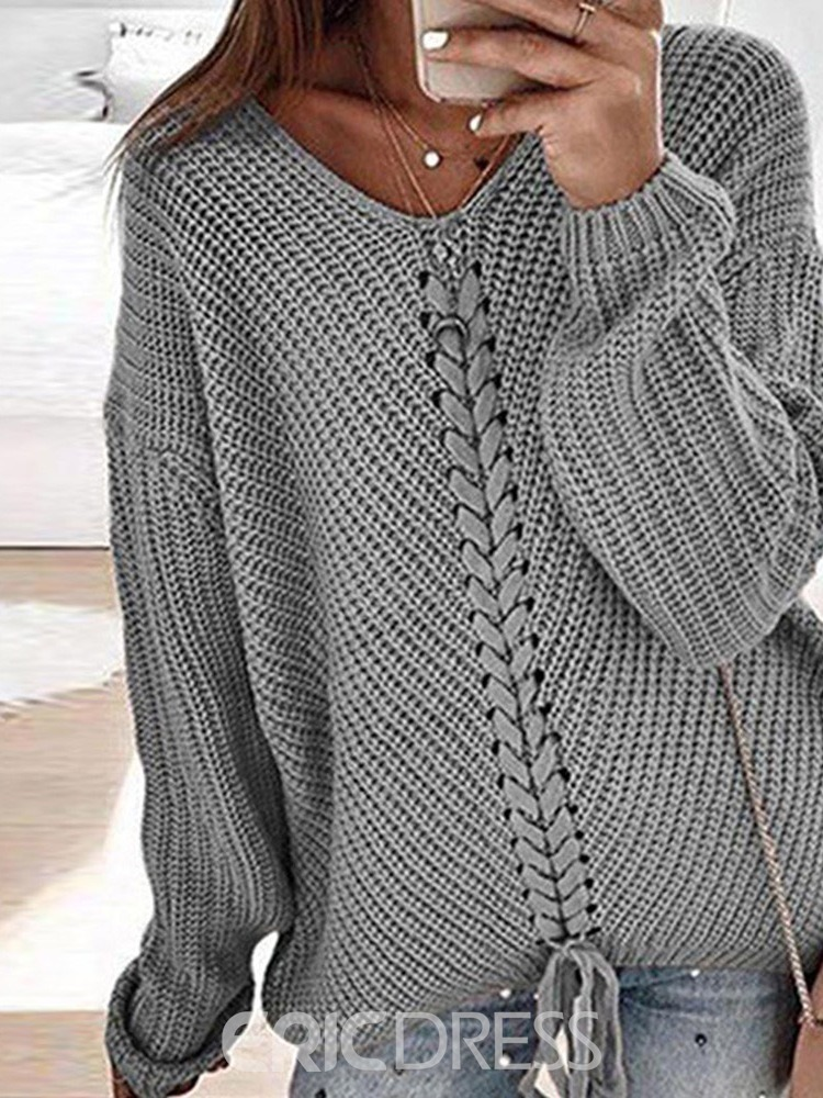 Ericdress Lace-Up Regular Thin Long Sleeve Loose Sweater