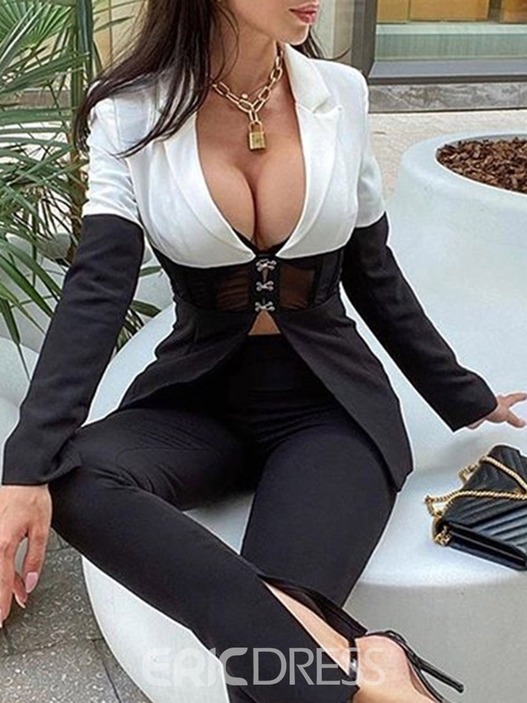 Ericdress Long Sleeve Notched Lapel Single-Breasted Regular Fall Casual Blazer