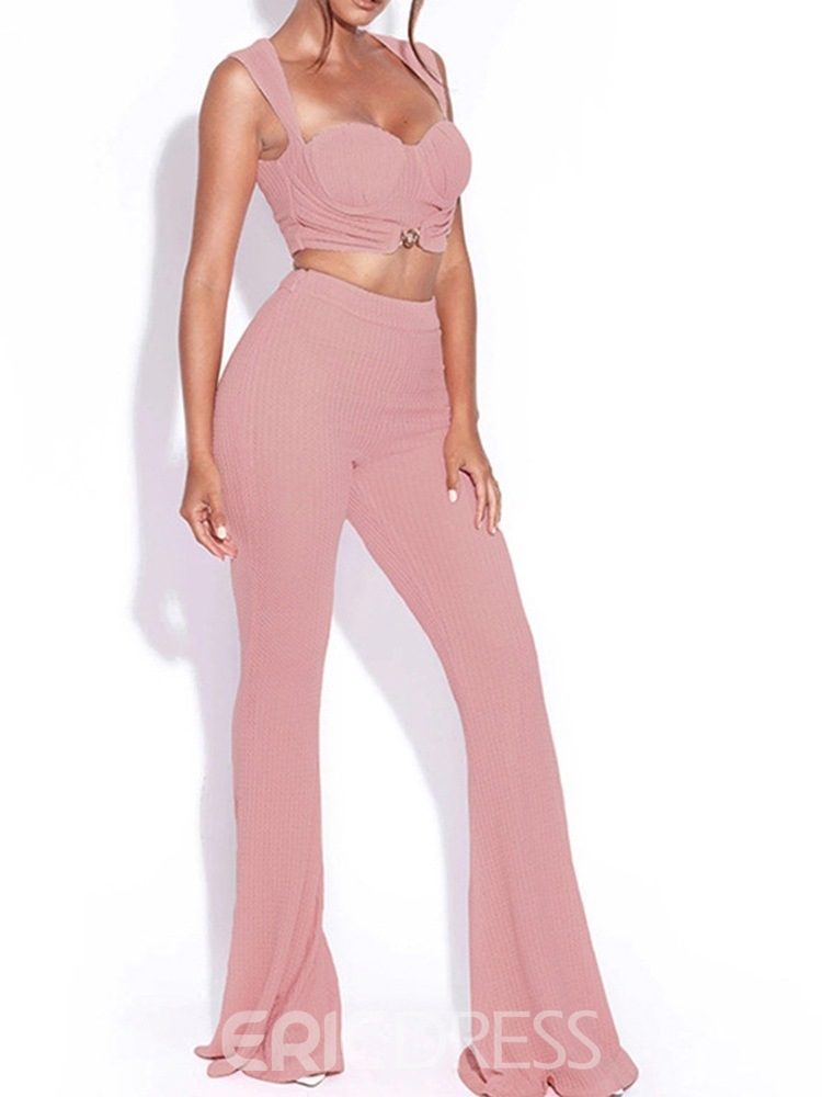 Ericdress Plain Pants Fashion Bellbottoms Pullover Two Piece Sets