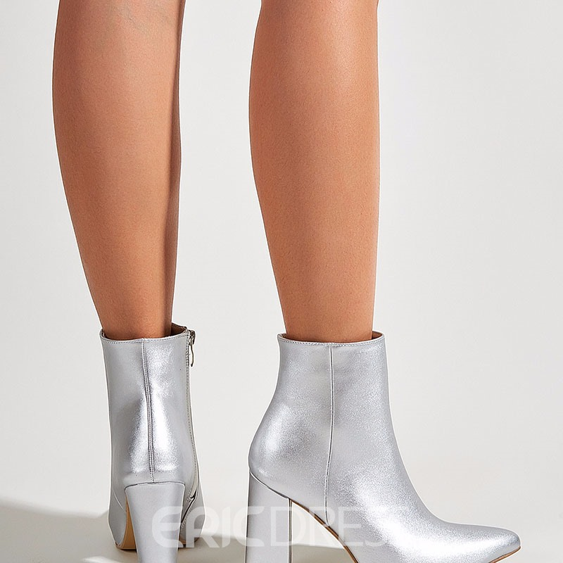 Ericdress Chunky Heel Pointed Toe Side Zipper Western Boots