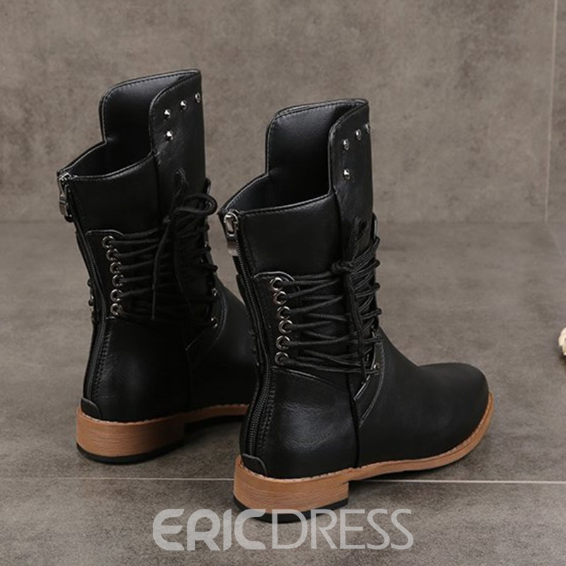 Ericdress Plain Block Heel Lace-Up Side Western Boots