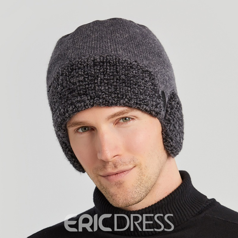 Ericdress Knitted Hat Woolen Yarn Color Block Winter Hats