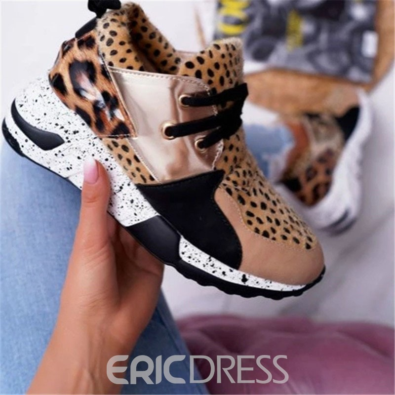 Ericdress Round Toe Lace-Up Candy Color PU Sneakers