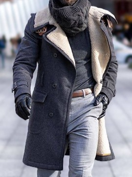 Ericdress Mid-Length Lapel Plain Men's Coat