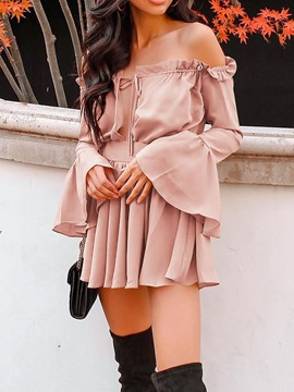 Ericdress Long Sleeve Stringy Selvedge Above Knee Spring A-Line Dress