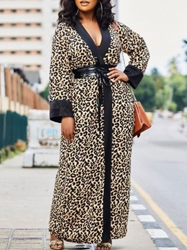 Ericdress Print Long V-Neck Long Sleeve Slim Trench Coat