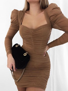 Ericdress Above Knee Pleated Long Sleeve Party/Cocktail Mid Waist Dress
