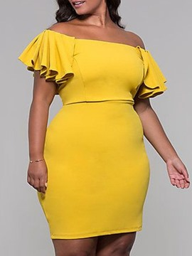 Ericdress Plus Size Above Knee Falbala Short Sleeve Bodycon Office Lady Dress