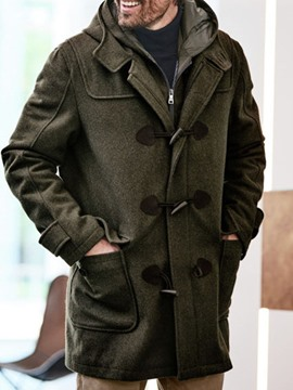 Ericdress Pocket Mid-Length Fall Straight Men's Coat