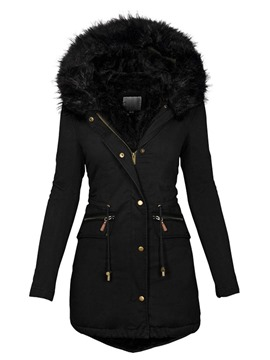 Ericdress Pocket Zipper Slim Mid-Length Cotton Padded Jacket