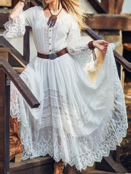 Ericdress Ankle-Length Lace Three-Quarter Sleeve Expansion Sweet Dress