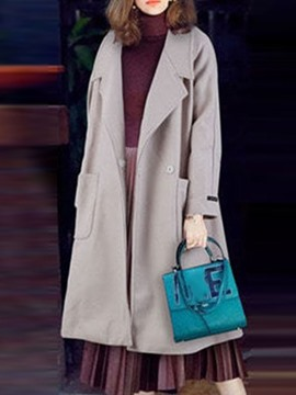 Ericdress Slim Patchwork Winter Lapel Overcoat