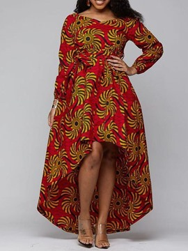 Ericdress Plus Size Floor-Length Print Nine Points Sleeve Fashion Fall Dress