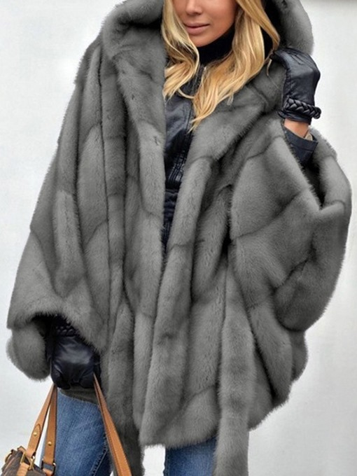 Ericdress Plain Mid-Length Hooded Winter Loose Faux Fur Overcoat