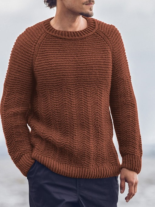 Ericdress Standard Plain Round Neck Men's Slim Casual Sweater