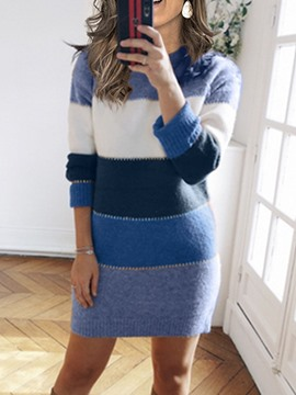 Ericdress Round Neck Long Sleeve Patchwork Color Block Sexy Dress