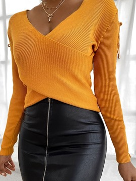 Ericdress Hollow Regular V-Neck Fall Sweater