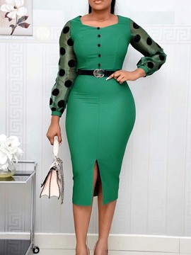 Ericdress Patchwork Long Sleeve Square Neck Pullover Polka Dots Bodycon Dress