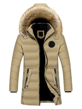 Ericdress Mid-Length Pocket Letter European Zipper Men's Down Jacket