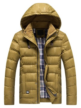 Ericdress Stand Collar Print Standard European Zipper Men's Down Jacket
