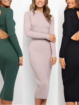 Ericdress Long Sleeve Stand Collar Backless Sexy Fall Dress