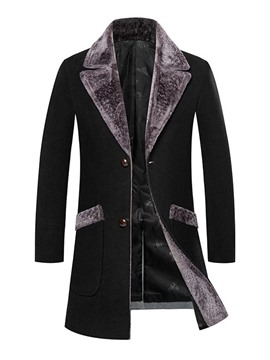 Ericdress Patchwork Mid-Length Single-Breasted Men's Slim Coat